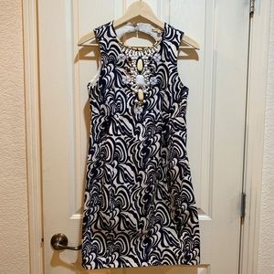 Nanette Lepore Shift Dress Navy Off White Small 4